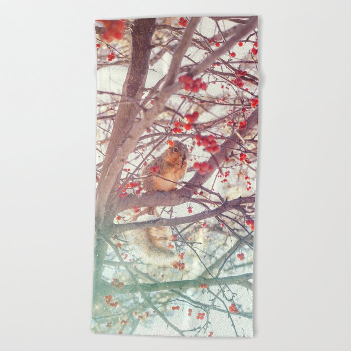 Squirrel Meal on a Cherry Tree Beach Towel