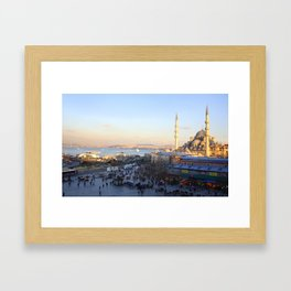 Bazaar and a mosque in Istanbul  Framed Art Print