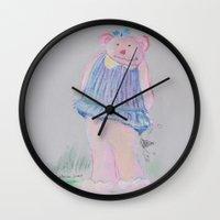 teddy bear Wall Clocks featuring teddy bear by Artemio Studio