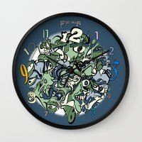 faces Wall Clocks featuring Faces by Pat Pot Designs