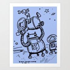 Blue Berserk Robot Ape Art Print