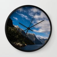 new zealand Wall Clocks featuring New Zealand by Michelle McConnell