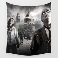 zombies Wall Tapestries featuring Zombies by Joe Roberts