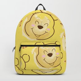 Inspired Pooh Bear surrounded with bees Pattern on Yellow background Backpack