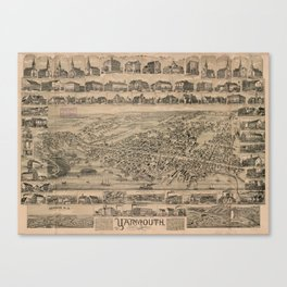 Vintage Pictorial Map of Yarmouth Nova Scotia (1889) Canvas Print