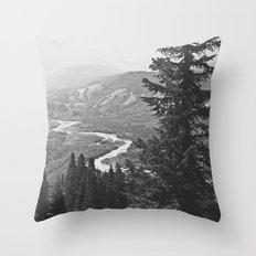 River through the Mountains Throw Pillow