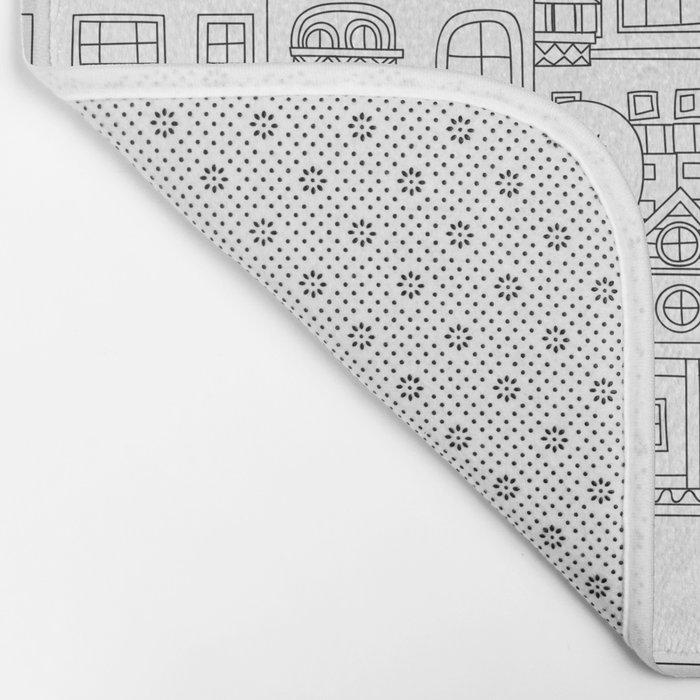 Doodle town pattern Bath Mat