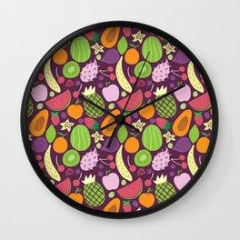 Juicy fruits dark Wall Clock