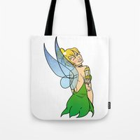 tinker bell Tote Bags featuring Tinker Bell by NOBODY's Art