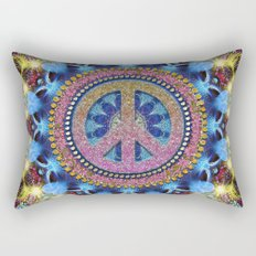 Groovy Hippie Love Mandala Rectangular Pillow
