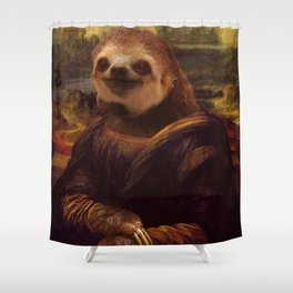 Mona Lisa Sloth - Original Artwork available in Poster. Shower Curtain