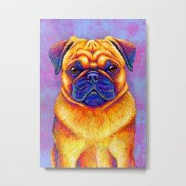 Comic Relief -  Colorful Pug Metal Print