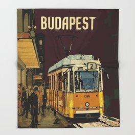 Retro Tram 2 in Budapest Throw Blanket