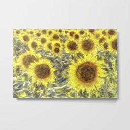 Sunflower Fields Of Summer Watercolour Metal Print