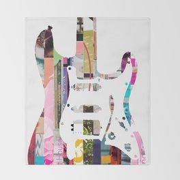 Electric Guitar   Magazine Strip Art Throw Blanket