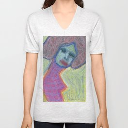 Lady in flanel dress Unisex V-Neck