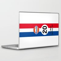 steve mcqueen Laptop & iPad Skins featuring Steve McQueen - Le Mans - Racing Car by Vintage Deco Print Posters