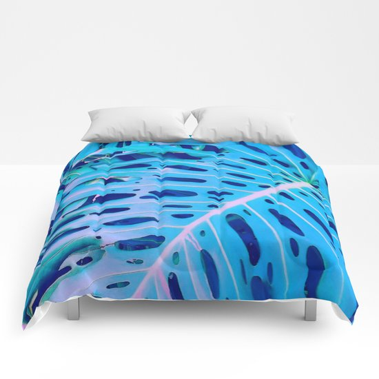 Monstera Blue Comforters