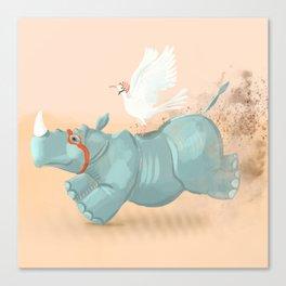 Rhino run Canvas Print