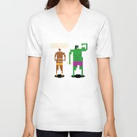 workout V-neck T-shirts featuring Sweet Workout by Hoborobo