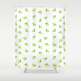 simple floral leaves seamless pattern 01 intensive green on white Shower Curtain