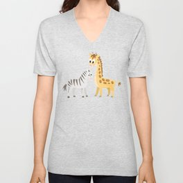 Safari Baby Zebra and Giraffe Unisex V-Neck