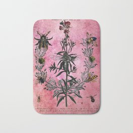 Vintage Bees with Toadflax Botanical illustration collage Bath Mat