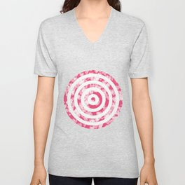 Target for Valentine's day-pink with hearts Unisex V-Neck