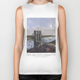 NEW YORK  East River BRIDGE city old map Father Day art print poster Biker Tank