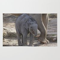 baby elephant Area & Throw Rugs featuring Elephant Baby by MehrFarbeimLeben