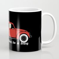 volkswagon Mugs featuring Snug as a Thug in a Bug (red) by The Wallpaper Files