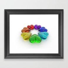 Rainbow Hearts Framed Art Print