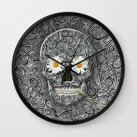 calavera Wall Clocks featuring Calavera by AkuMimpi