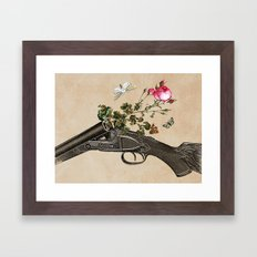 One Gun, One Rose, Two Moths Framed Art Print