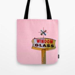 Atomic Pink Starburst - Vintage Googie-Style Sign with Pink Background Tote Bag
