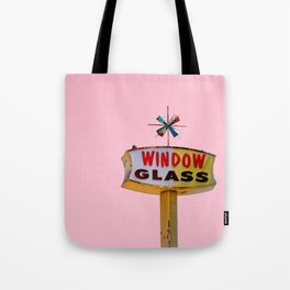 Atomic Pink Starburst - Vintage Googie-Style Sign with Pink Background Tote Bag
