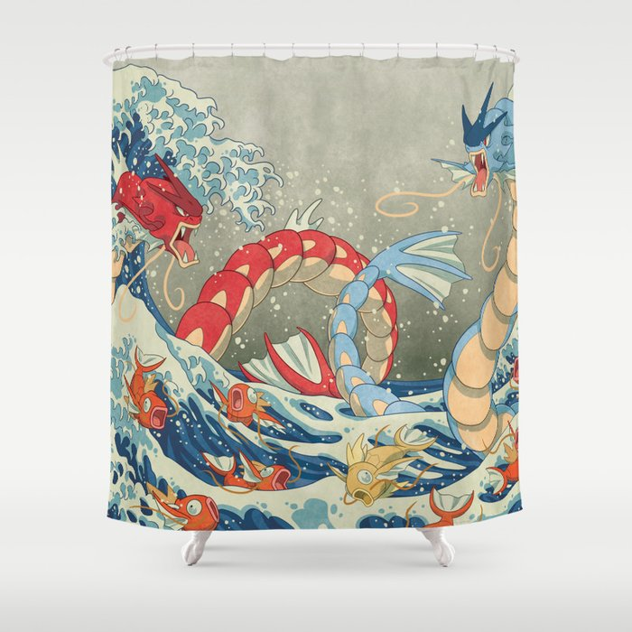 The Great Red Wave I Shower Curtain