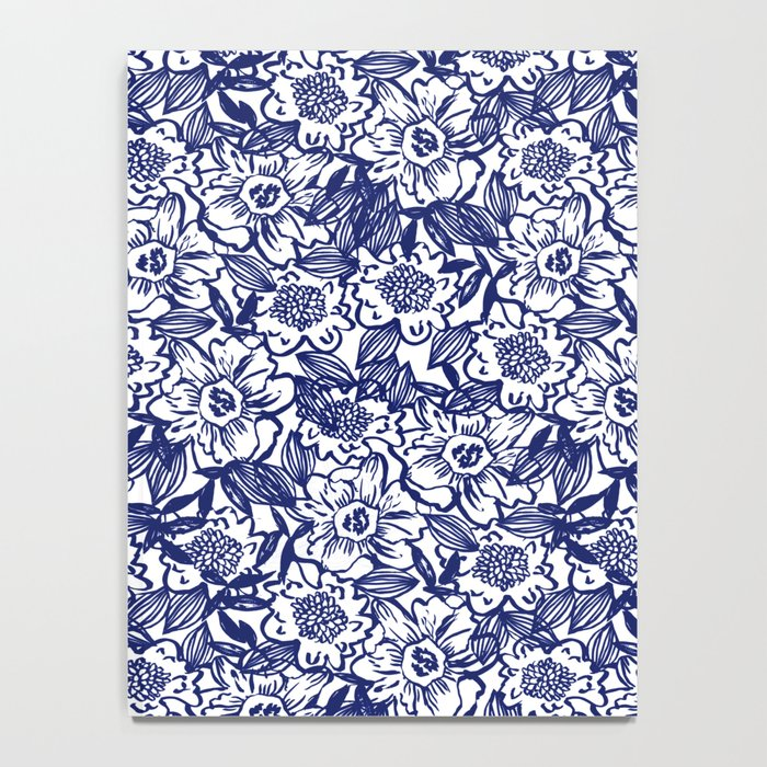 Indigo Florals watercolor painterly botanical boho pattern print nature spring summer monochromatic Notebook