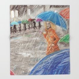 Rainy Days in Normandy Throw Blanket