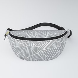 Abstract Lines 2 White on Grey Fanny Pack