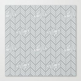 Pastel Gray Chevron Floral Canvas Print