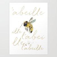 craftberrybush Art Prints featuring l'abeille  by craftberrybush