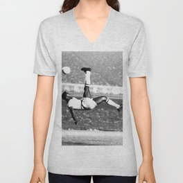 Pele In The Air With Brazil Unisex V-Neck