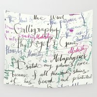 calligraphy Wall Tapestries featuring Calligraphy Spill by Louis Franz