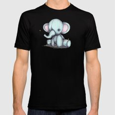 Elephant and Bee Plushie Black MEDIUM Mens Fitted Tee
