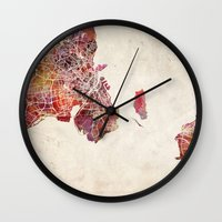 copenhagen Wall Clocks featuring Copenhagen by MapMapMaps.Watercolors