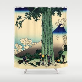 "Hokusai (1760–1849) ""Mishima Pass in Kai Province"" Shower Curtain"