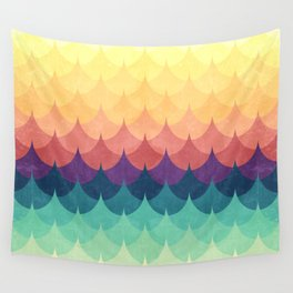 Sailing in Rainbow Waves Wall Tapestry