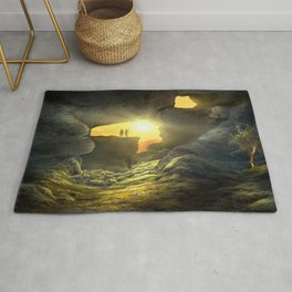 Compelling Fantasy World Cave Lonely Tree Two Humans Silhouette Ultra HD Rug