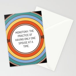 Monotony The practice of having only one spouse at a time Stationery Cards